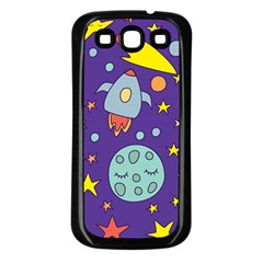 Card With Lovely Planets Samsung Galaxy S3 Back Case (black)
