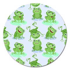 Cute Green Frogs Seamless Pattern Magnet 5  (round)