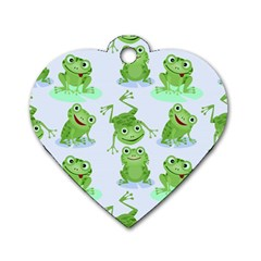 Cute Green Frogs Seamless Pattern Dog Tag Heart (one Side)