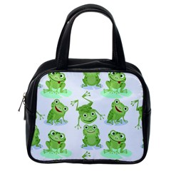 Cute Green Frogs Seamless Pattern Classic Handbag (one Side)