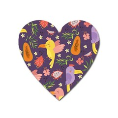 Exotic Seamless Pattern With Parrots Fruits Heart Magnet by Vaneshart