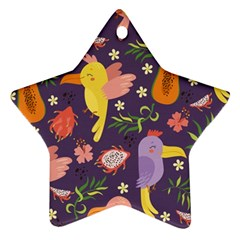 Exotic Seamless Pattern With Parrots Fruits Star Ornament (two Sides)