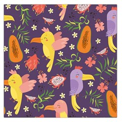 Exotic Seamless Pattern With Parrots Fruits Large Satin Scarf (square)