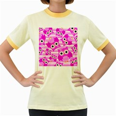 Pink Owl Pattern Background Women s Fitted Ringer T-shirt by Vaneshart