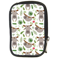 Seamless Pattern With Cute Sloths Compact Camera Leather Case