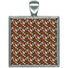 Swimmer 20s Brown Square Necklace by snowwhitegirl