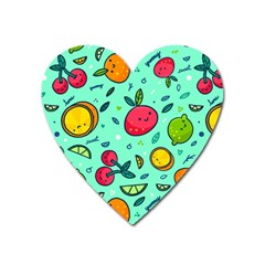 Various Fruits With Faces Seamless Pattern Heart Magnet by Vaneshart