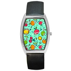 Various Fruits With Faces Seamless Pattern Barrel Style Metal Watch