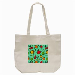 Various Fruits With Faces Seamless Pattern Tote Bag (cream)