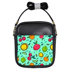 Various Fruits With Faces Seamless Pattern Girls Sling Bag