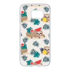Cute Lazy Sloth Summer Fruit Seamless Pattern Samsung Galaxy S7 Edge White Seamless Case