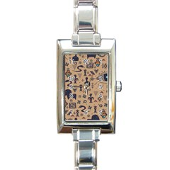 Vintage Tribal Seamless Pattern With Ethnic Motifs Rectangle Italian Charm Watch