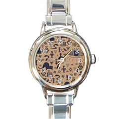 Vintage Tribal Seamless Pattern With Ethnic Motifs Round Italian Charm Watch