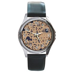 Vintage Tribal Seamless Pattern With Ethnic Motifs Round Metal Watch