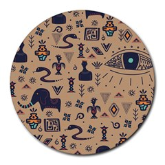 Vintage Tribal Seamless Pattern With Ethnic Motifs Round Mousepads