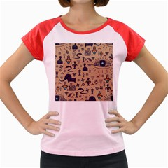 Vintage Tribal Seamless Pattern With Ethnic Motifs Women s Cap Sleeve T-Shirt
