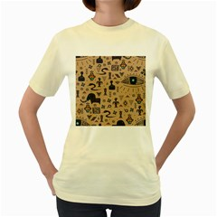 Vintage Tribal Seamless Pattern With Ethnic Motifs Women s Yellow T-Shirt
