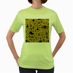 Vintage Tribal Seamless Pattern With Ethnic Motifs Women s Green T-Shirt