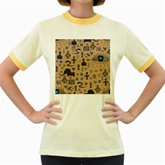 Vintage Tribal Seamless Pattern With Ethnic Motifs Women s Fitted Ringer T-Shirt