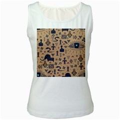 Vintage Tribal Seamless Pattern With Ethnic Motifs Women s White Tank Top