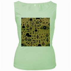 Vintage Tribal Seamless Pattern With Ethnic Motifs Women s Green Tank Top