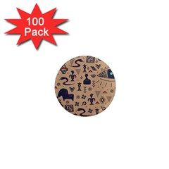 Vintage Tribal Seamless Pattern With Ethnic Motifs 1  Mini Magnets (100 pack)