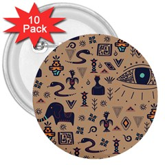 Vintage Tribal Seamless Pattern With Ethnic Motifs 3  Buttons (10 pack)