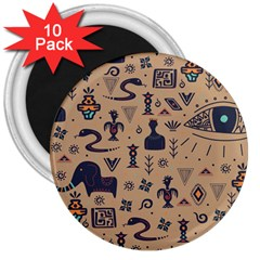 Vintage Tribal Seamless Pattern With Ethnic Motifs 3  Magnets (10 pack)