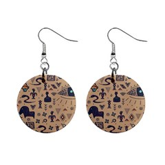 Vintage Tribal Seamless Pattern With Ethnic Motifs Mini Button Earrings