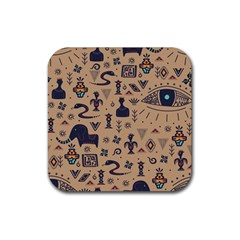 Vintage Tribal Seamless Pattern With Ethnic Motifs Rubber Square Coaster (4 pack)