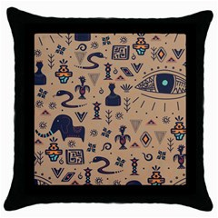 Vintage Tribal Seamless Pattern With Ethnic Motifs Throw Pillow Case (Black)