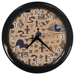 Vintage Tribal Seamless Pattern With Ethnic Motifs Wall Clock (Black)