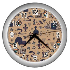 Vintage Tribal Seamless Pattern With Ethnic Motifs Wall Clock (Silver)