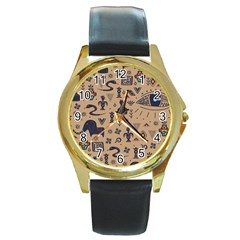 Vintage Tribal Seamless Pattern With Ethnic Motifs Round Gold Metal Watch