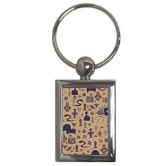 Vintage Tribal Seamless Pattern With Ethnic Motifs Key Chain (Rectangle)