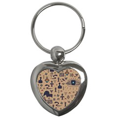 Vintage Tribal Seamless Pattern With Ethnic Motifs Key Chain (Heart)