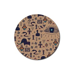 Vintage Tribal Seamless Pattern With Ethnic Motifs Rubber Round Coaster (4 pack)