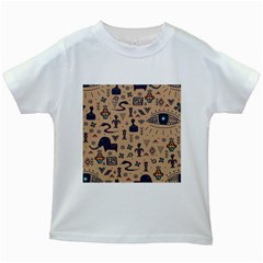 Vintage Tribal Seamless Pattern With Ethnic Motifs Kids White T-Shirts