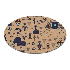 Vintage Tribal Seamless Pattern With Ethnic Motifs Oval Magnet
