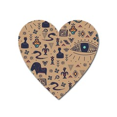 Vintage Tribal Seamless Pattern With Ethnic Motifs Heart Magnet