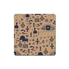Vintage Tribal Seamless Pattern With Ethnic Motifs Square Magnet