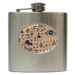 Vintage Tribal Seamless Pattern With Ethnic Motifs Hip Flask (6 oz)