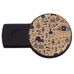 Vintage Tribal Seamless Pattern With Ethnic Motifs USB Flash Drive Round (2 GB)