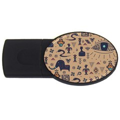 Vintage Tribal Seamless Pattern With Ethnic Motifs USB Flash Drive Oval (2 GB)