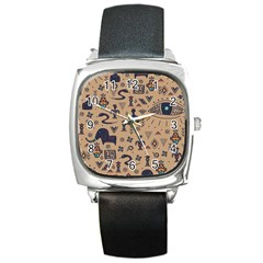 Vintage Tribal Seamless Pattern With Ethnic Motifs Square Metal Watch