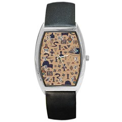 Vintage Tribal Seamless Pattern With Ethnic Motifs Barrel Style Metal Watch