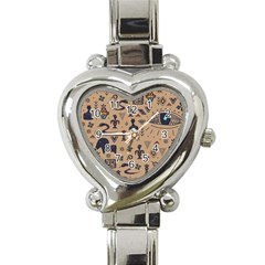Vintage Tribal Seamless Pattern With Ethnic Motifs Heart Italian Charm Watch