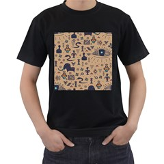 Vintage Tribal Seamless Pattern With Ethnic Motifs Men s T-Shirt (Black) (Two Sided)