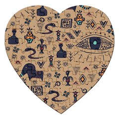 Vintage Tribal Seamless Pattern With Ethnic Motifs Jigsaw Puzzle (Heart)
