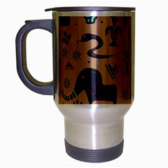 Vintage Tribal Seamless Pattern With Ethnic Motifs Travel Mug (Silver Gray)